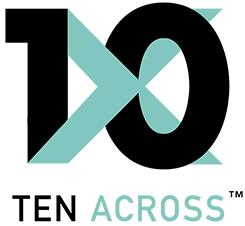 Ten Across Logo. Number 10 intertwined with an X
